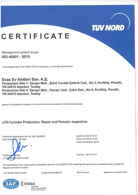 ISO 45001-2015 Certificate