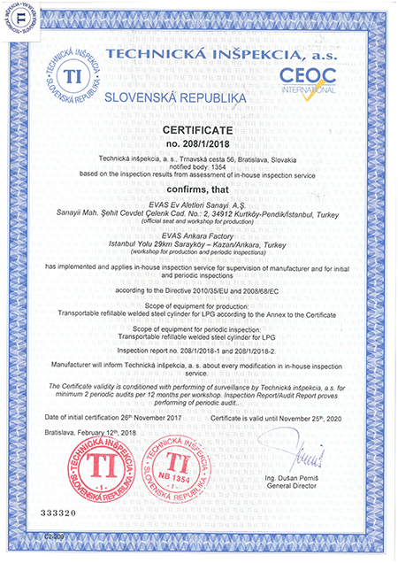 In-House Inspection Certificate according to Directive 2010/35/EU